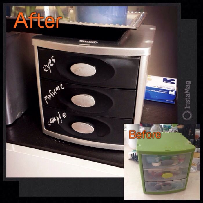 Diy Plastic drawer! 1. Paint outside and knobs with silver spray paint 2.Cover knobs with cooking foil 3.Paint drawer with chalkboard spray paint You can memo with chalk on each drawers what is in.