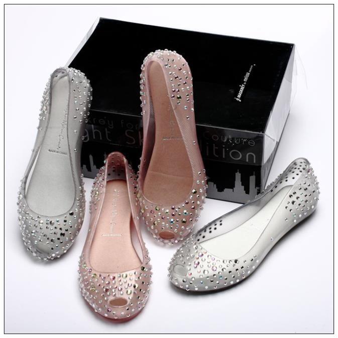 2014 brand shoes Ladies Melissa Chili Diamond Crystal flat heel Sandals  Women Fish Mouth Transparent Jelly