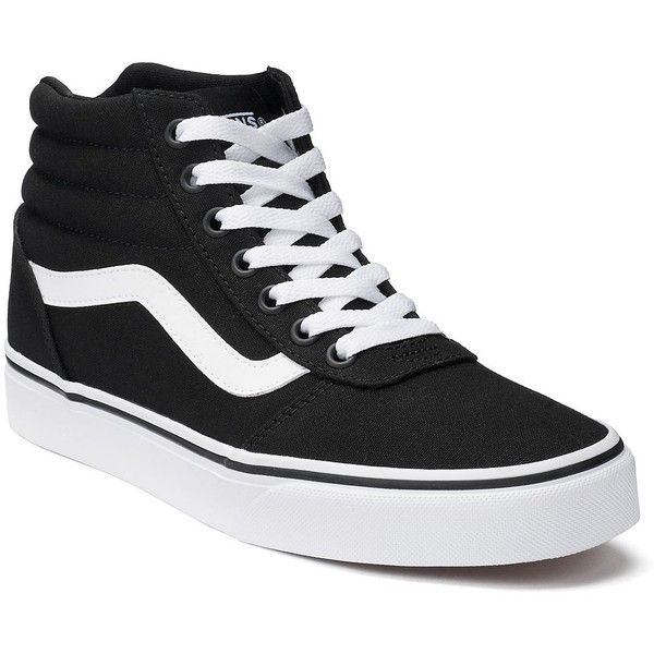 Vans Ward Hi Women's Canvas Skate Shoes ($65) ❤ liked on Polyvore featuring shoes, sneakers, black, black hi top sneakers, canvas high tops, canvas sneakers, vans shoes and black high top shoes