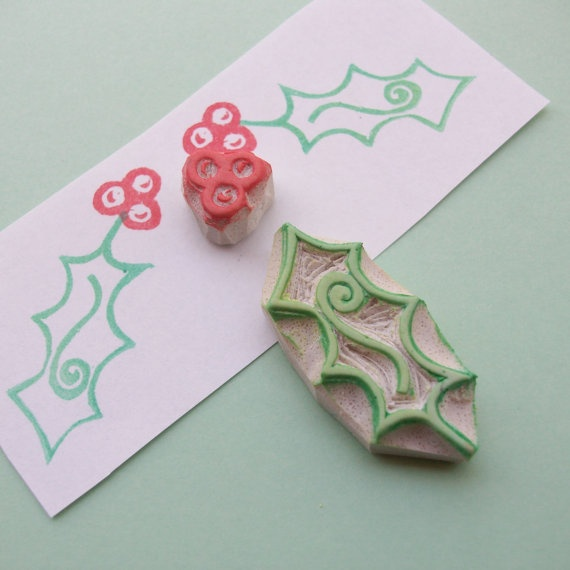 Nothing says Christmas like handmade!  http://www.etsy.com/listing/77793399/boughs-of-holly-hand-carved-rubber-stamp