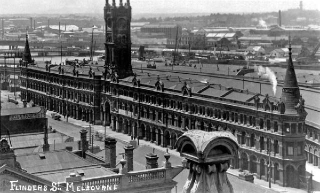 Melbourne's fish and game market in Flinders Street on the banks of the Yarra River. This market was demolished in the late 1950s.