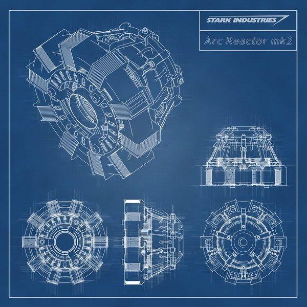 021 Blueprint - Iron Man Arc Reactor MK2 14 x14  Poster