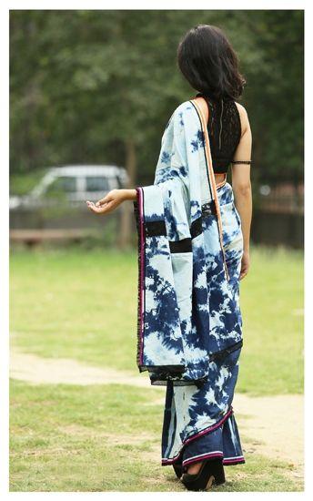 Denim saris by Anubha Jain| Designer saris