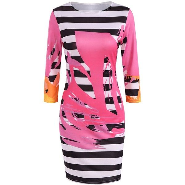 Splatter Paint Striped Pencil Dress (125 SEK) ❤ liked on Polyvore featuring dresses, stripe dress, pink striped dress, splatter dresses, pink stripe dress and striped dresses