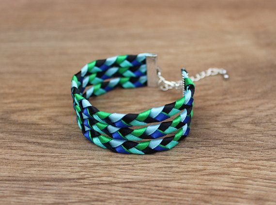 Check out this vibrant green and blue Bracelet in my Etsy shop https://www.etsy.com/uk/listing/535672082/green-blue-ribbon-braided-bracelet-woven  #bracelet #braided #wovenbracelet #jewellery #jewelry #green #blue #silver #womens #accessory #handmade #gift