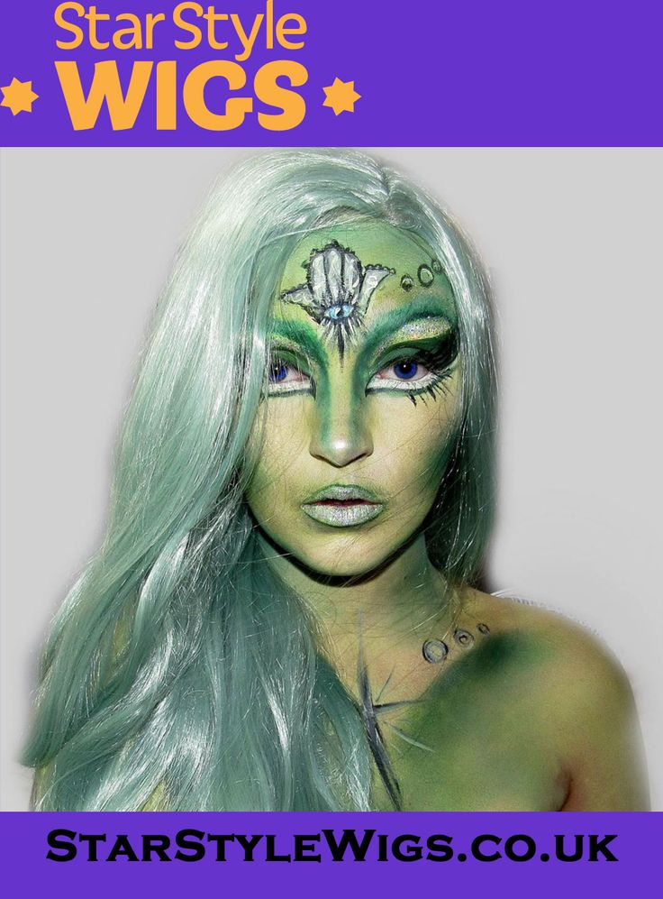 Pastel hair incorporated into @lacehrawrmaee_sfx's gorgeous galactic inspired alien makeup creation. The Kylie Pastel Green Wig features long and luscious wavy layers and centre parting. The hair falls to the waist and is ideal for shoots, festivals and a whole host of creative looks. Click the image for more info.