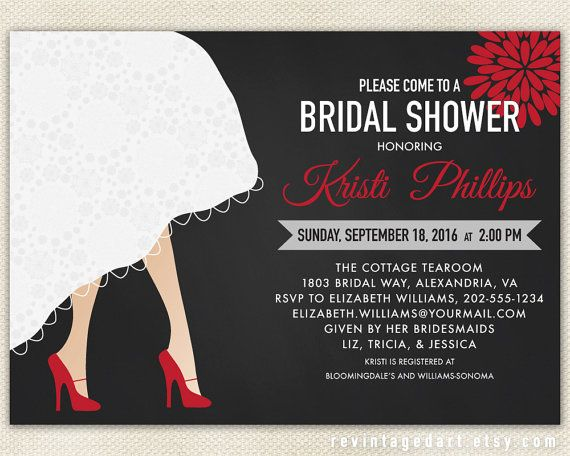 """Bridal Shower Invitation with Wedding Dress Hem by RevintagedArt (ETSY) """"This is what I want! Including the red shoes for my wedding!"""""""