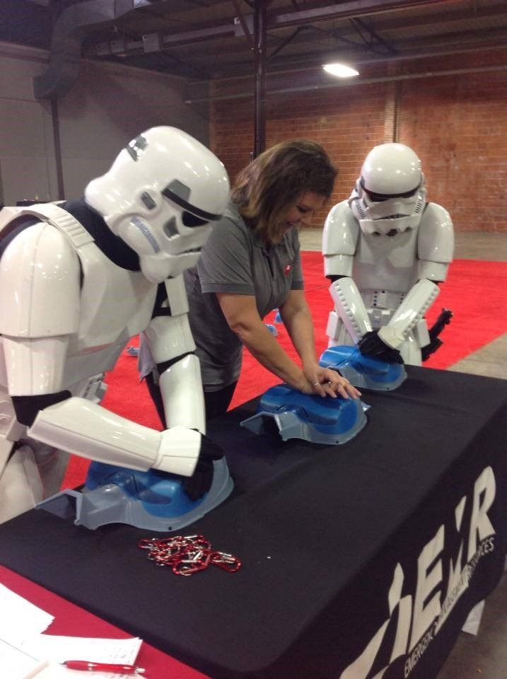 Darth Vader's theme song, the Imperial March, is 103 beats/min. Good for keeping rhythm during #CPR. #SDCC