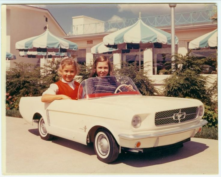 Vintage Photo of Girls in Ford Mustang Pedal Car, 1960's