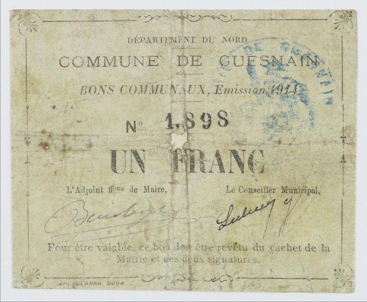 Bon communal d'un franc de la ville de Guesnain (Nord). Émission 1914, n° 1898. Douai, Impr. Clarra. 1914. Feuillet papier, 8 x 10 cm.  © Archives nationales, 78 AJ/1.