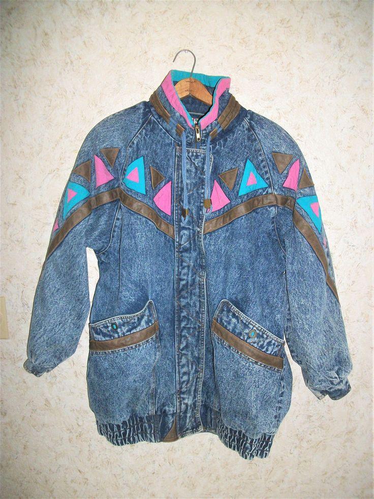 90s Stone Washed Denim Patched Leather Jacket Oversized