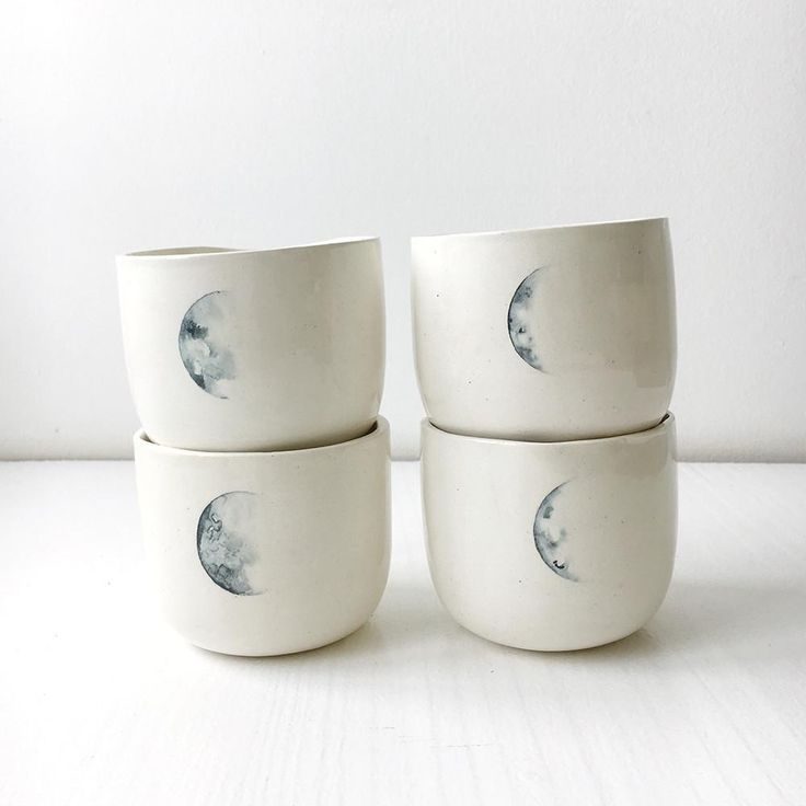 A set of four lunar mugs // Amy Keevy