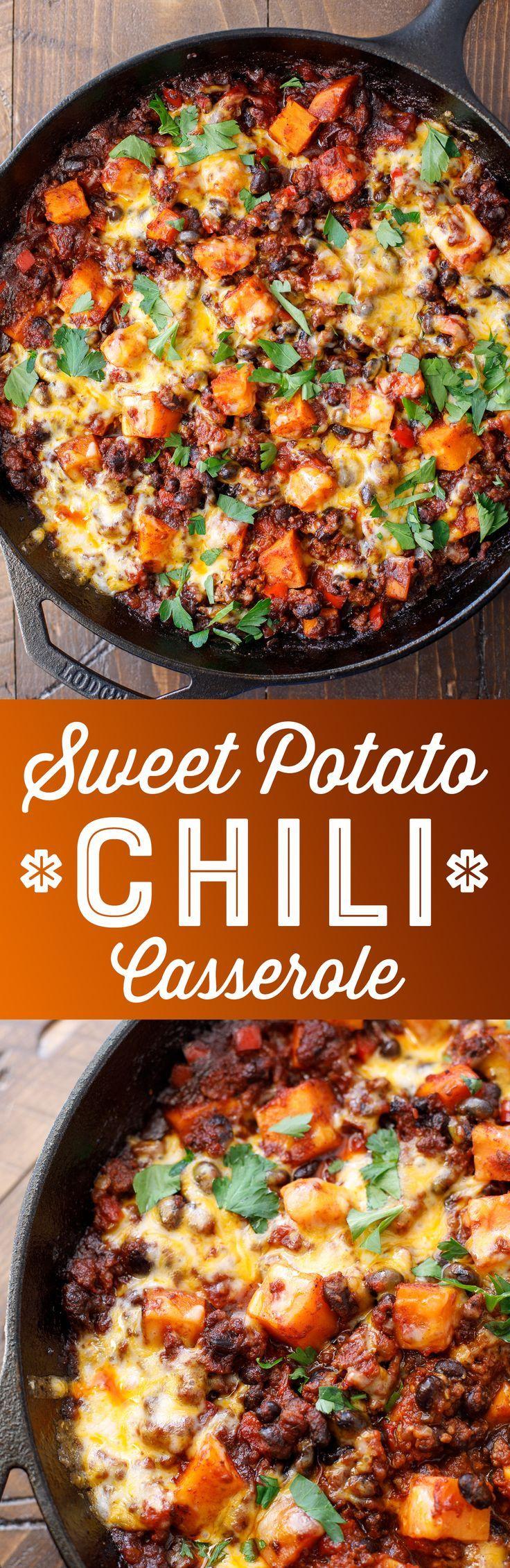 Sweet Potato Chili Casserole Recipe - Easy Skillet Chili - Sweet Potato Chili with Ground Beef #casserole #chili