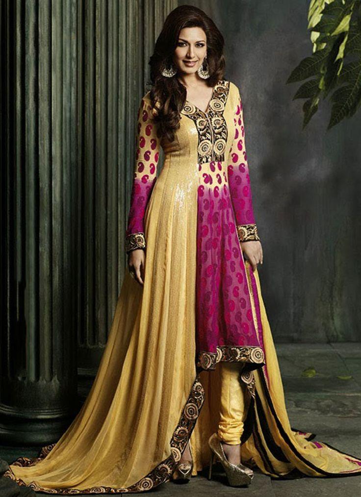 115 Ochre Georgette Anarkali Suit Indian Wedding DressesWedding Gowns Designer
