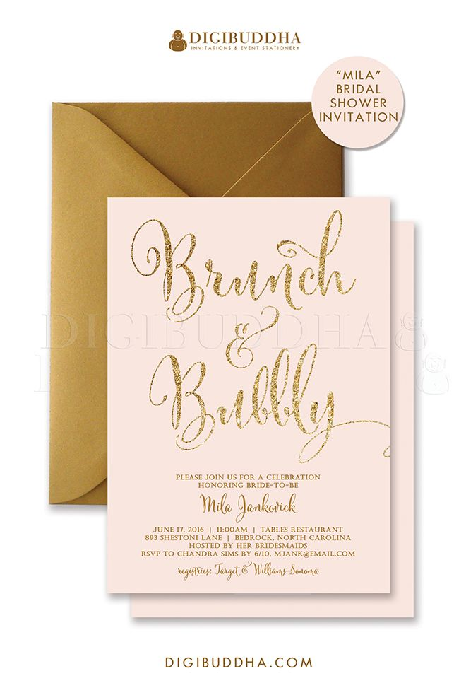 044b819d96c7 Blush pink and gold glitter Brunch   Bubbly Invitations for bridal shower  brunch to honor the bride-to-be or tu…