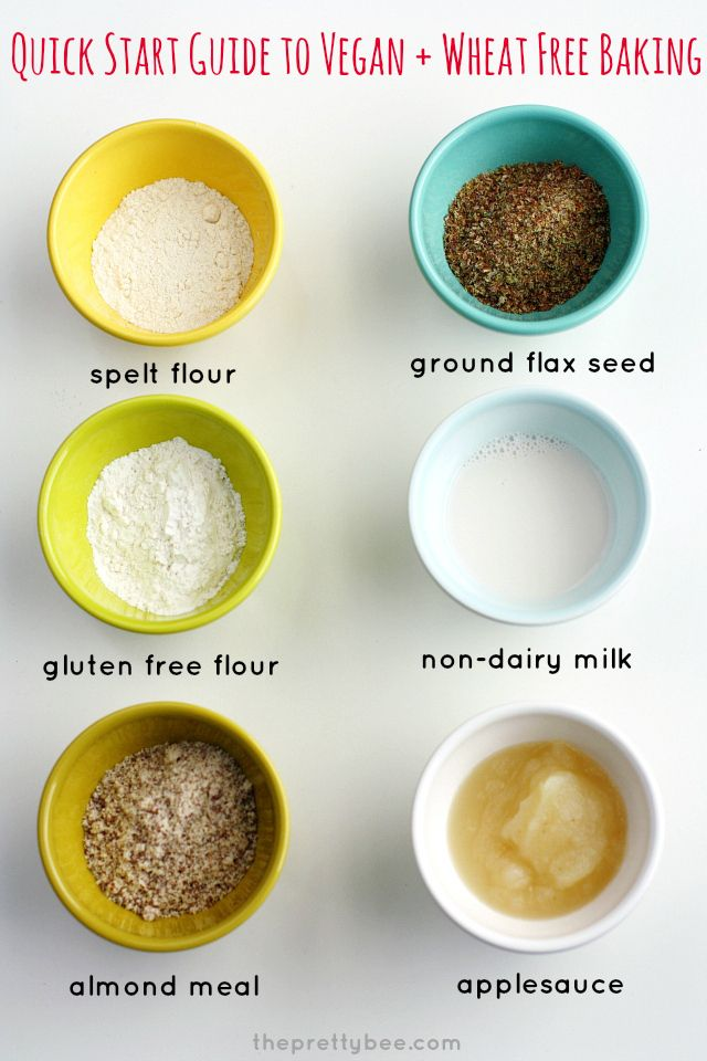 Sustituciones fáciles para veganos y trigo para hornear libre - una lista de ingredientes y consejos para aquellos que son nuevos para la cocción de esta manera.