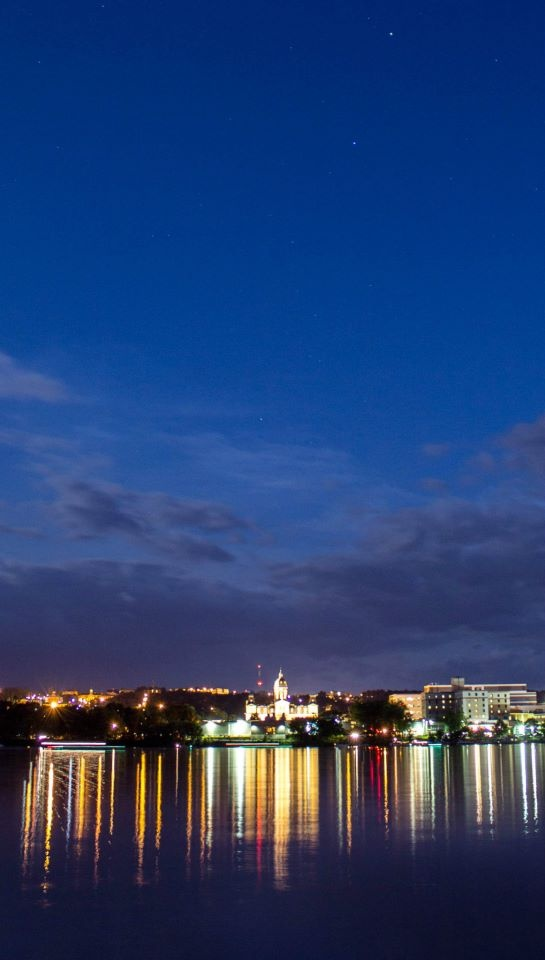A photo taken by my brother Steve Brewster of the beautiful skyline at dusk.  Fredericton, NB, Canada