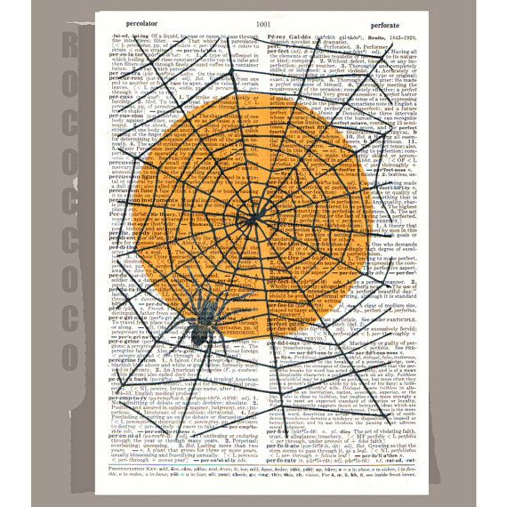 Spider in web on dictionary page.  I've seen a lot of artwork of this kind, but I happen to like this composition.