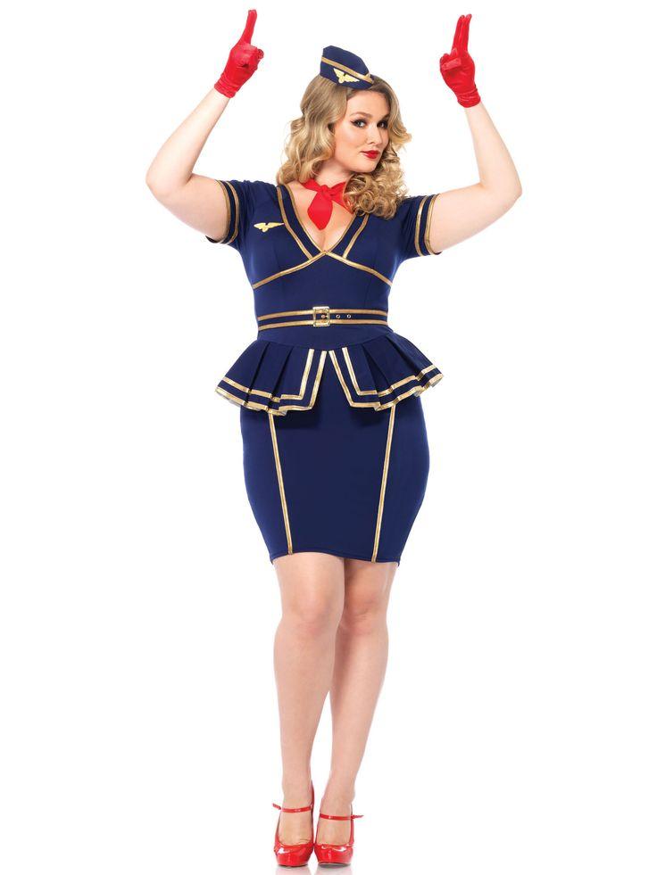 Disfraz azafata de vuelo mujer talla grande: Este disfraz de azafata de vuelo para mujer está formado por un vestido, un gorro y un pañuelo (guantes y zapatos no incluidos).El vestido es elástico de color azul con detalles...