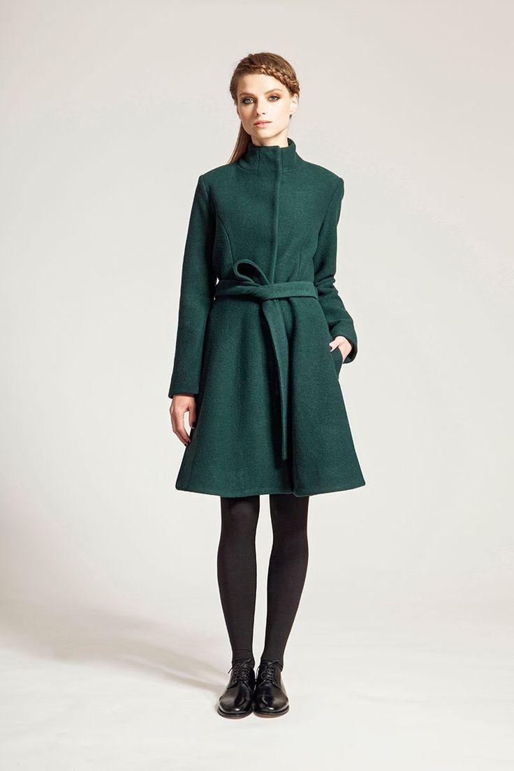 IMRECZEOVA FW16 green merino wool coat