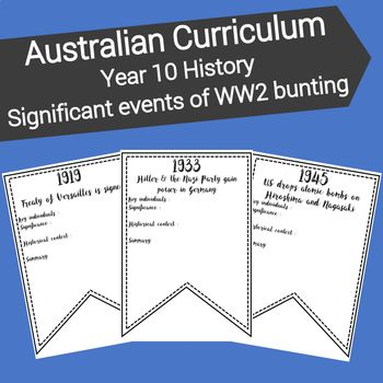This resource is designed to familiarise students with key events from World War Two and their significance. Included in this resource:* 1 x A4 blank bunting template* 20 x A4 bunting templates featuring the names and dates of significant events leading up to and during World War Two relevant to the Australian Curriculum.