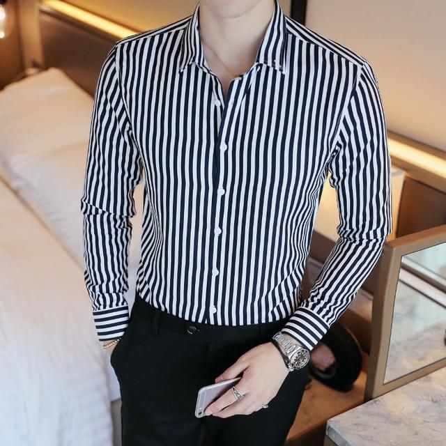Men Mens Casual Vertical Striped Tops Button Down Long Sleeve Dress Shirts