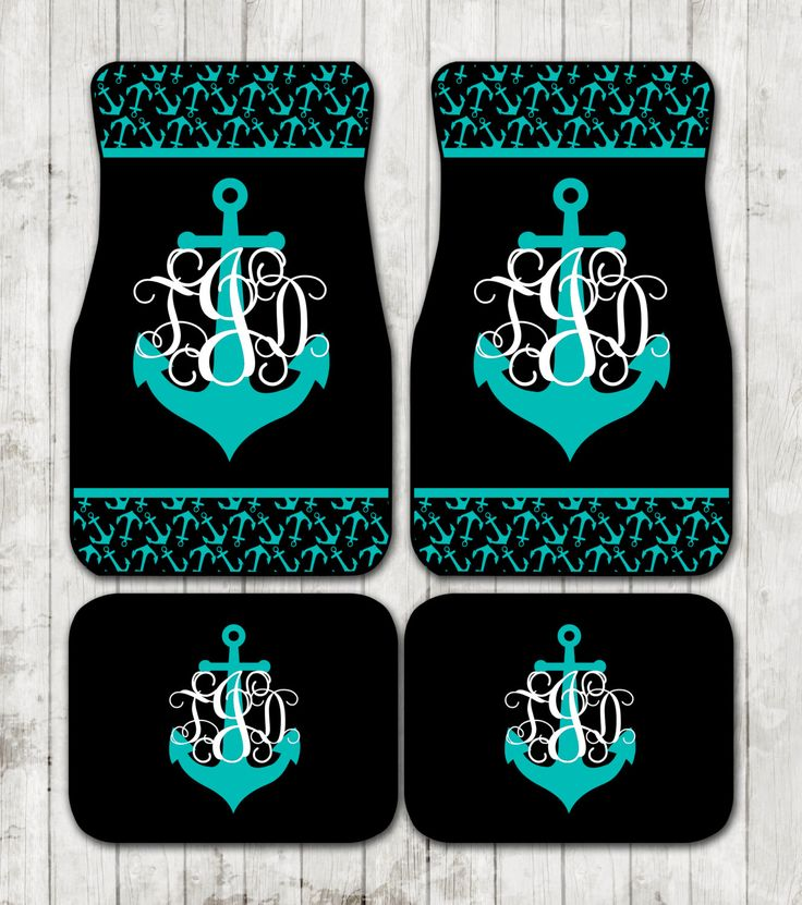 Nautical Monogram Anchor Car Floor Mats Anchors Personalized Custom Car Mats Monogrammed Gifts Cute Accessories For Women Carmats Car Decor by ChicMonogram on Etsy