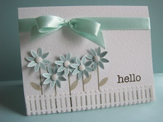 hello card - CAS - MS picket fence punch - PTI Beautiful Blooms - bjl