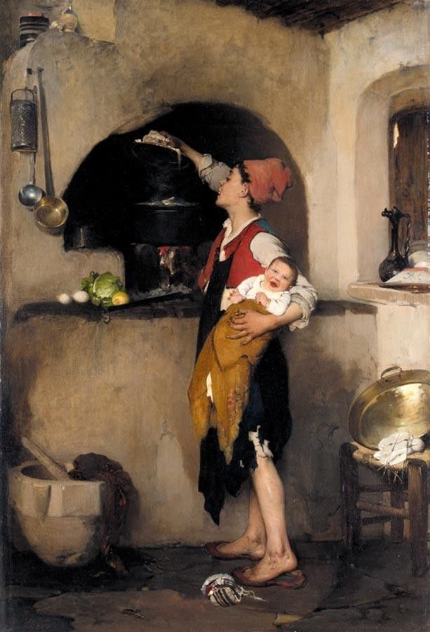 Nikiforos Lytras, Greek painter 1832-1904: In the Kitchen c. 1872