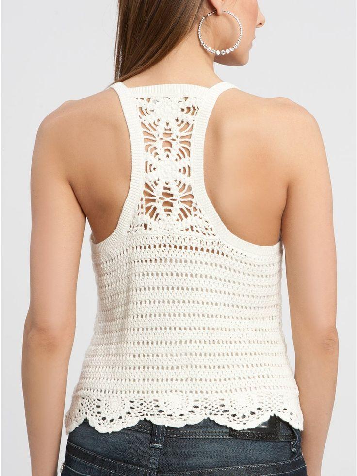 White Crochet Top (Back)  http://crochetemoda.blogspot.ca/2013_01_01_archive.html