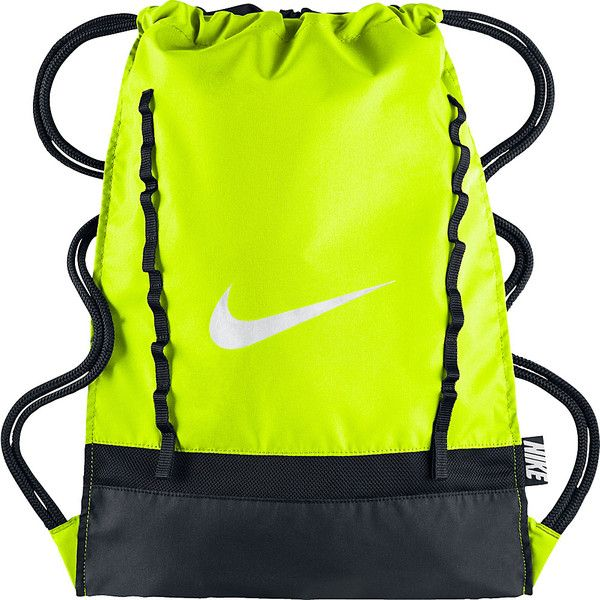 Nike Brasilia 7 Gymsack ($11) ❤ liked on Polyvore featuring bags, handbags, black, water resistant bag, draw string bag, nike handbags, drawstring handbags and drawstring purse