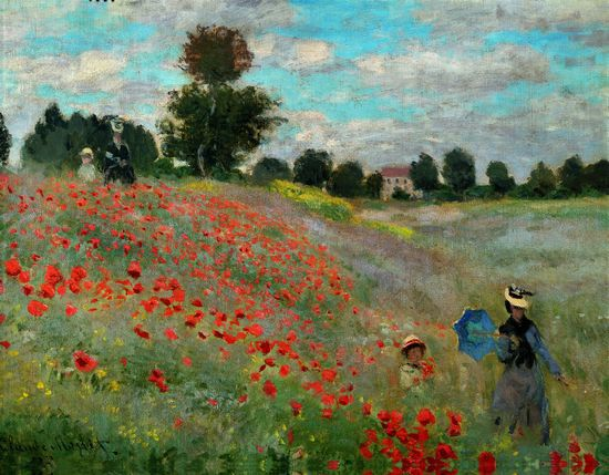 """Claude Monet c.1873 """"Poppy Field near Argenteuill,"""" Paris, Musee d'Orsay ...Monet loved these flowers. He was content with his family spending time near the Seine in the village of Argenteuill."""