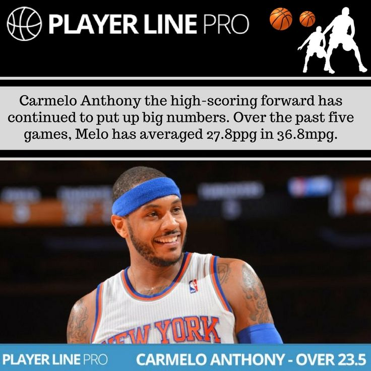 Have a look at this image of Carmelo Anthony who has averaged 27.8ppg in 36.8mpg over the past five games and has been the most dominant big man in the game for the past month. For more information, Visit: playerlinepro.com #NBADailyPicks #NBAdailytips #LineMovement #PlayerLinePro