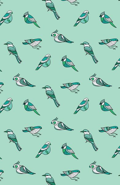 Beautiful colours and illustrations. Lovely pattern!  doodle birds - mint Art Print by Ravynka