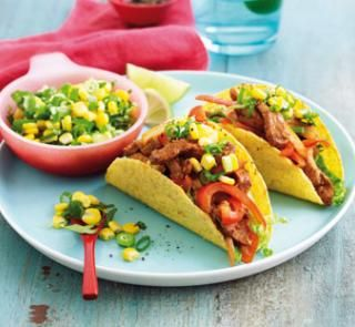 Sizzling pork tacos with corn and lime salsa | Fluten free, dairy free and diabetes friendly! Get the recipe on Australian Healthy Food Guide
