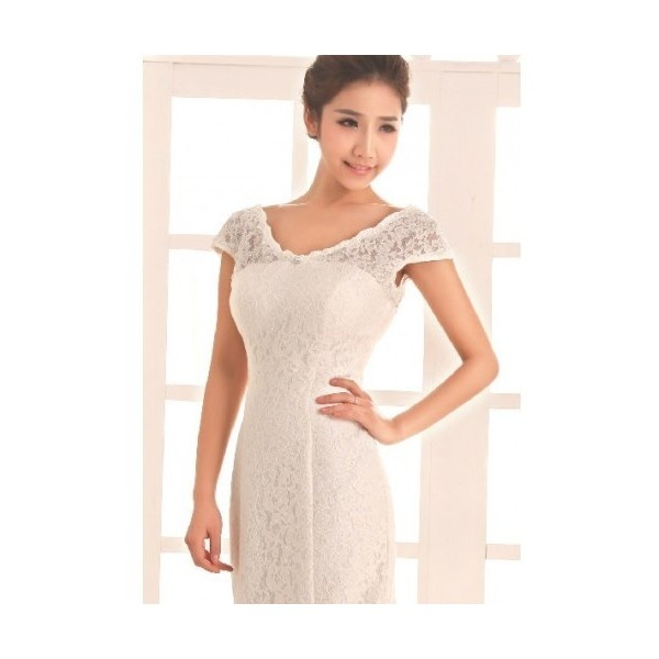 Buy All Lace Over A-Line Gown V-Neckline With Zipper Back Style... via Polyvore
