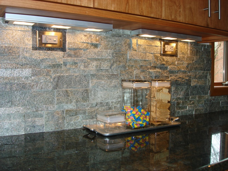 A Stacked Stone Backsplash Is A Nice Contrast With Granite