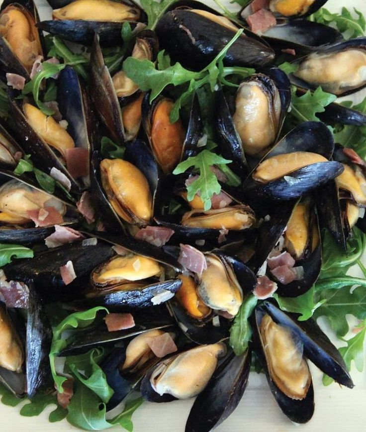 Double-Smoked Bacon Tarragon Mussels (substitute white wine with lemon juice)