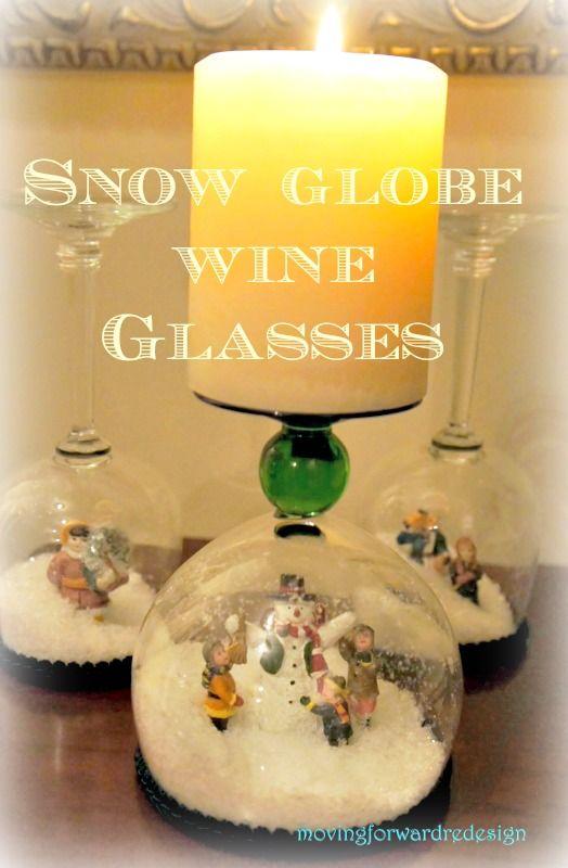 DIY Stemware Snow Globes #Holidayhome