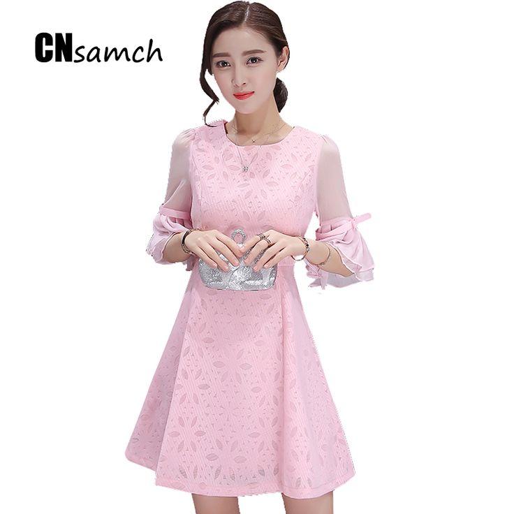 Autumn 2016 New Seven Points Long Sleeve Lace + Chiffon Dress Korean Slim A A-line Dress Bodycon Dress