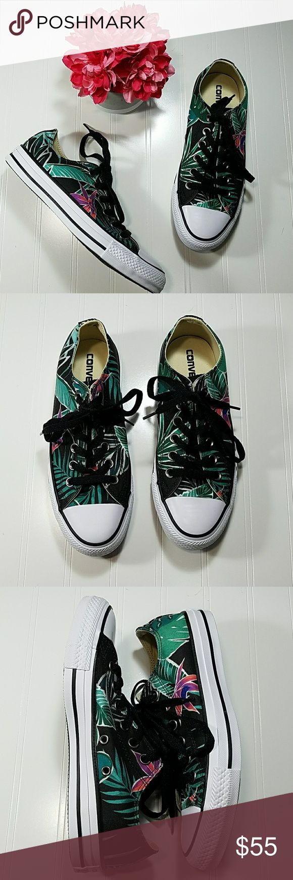 🌼Converse floral tennis shoes Floral print with black laces, white around the bottom with black stripe. NEW IN THE BOX. Ships in original box.  Sz 7 Converse Shoes Athletic Shoes