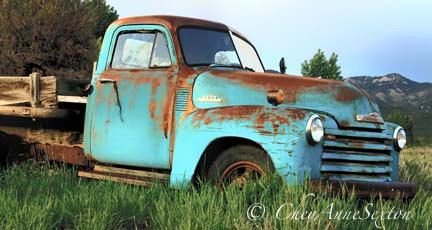 Truck Art  Old Farm Truck  Teal Turquoise Chevy 16x30 giclee BIG panoramic print by CheyAnneSexton