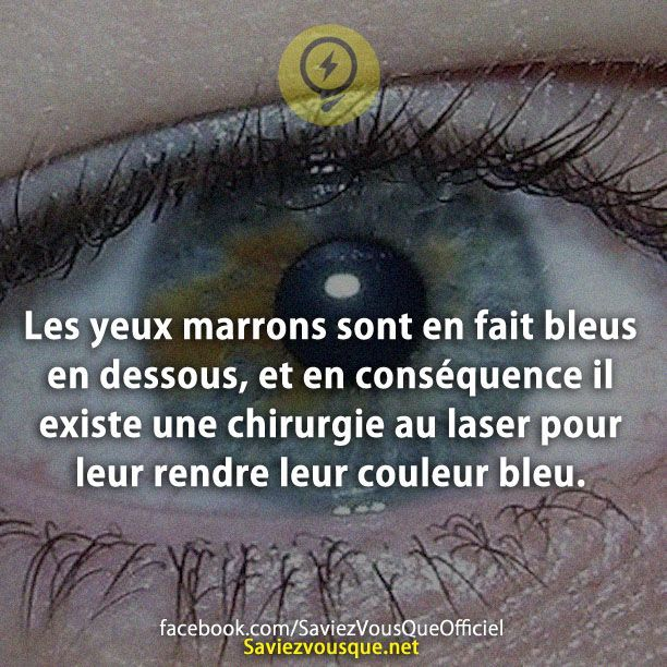 Les yeux marrons sont en fait bleus en dessous, et en conséquence il existe une chirurgie au laser pour leur rendre leur couleur bleu. | Saviez Vous Que?