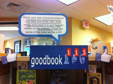 """This librarian encourages kids to """"like' their favorite book using like logo bookmarks. More on how it's done on the blog"""