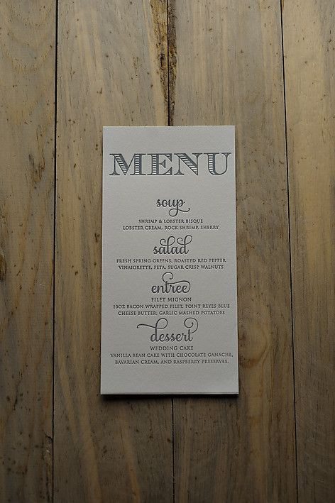 Letterpress menus, wedding reception menus, elegant wedding menus