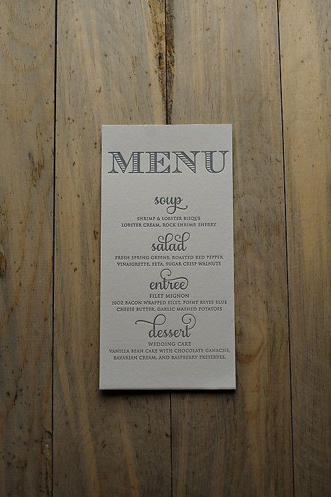 Letterpress menus, wedding reception menus, elegant wedding menus