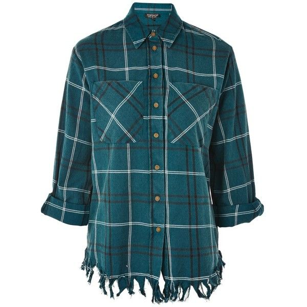 Topshop Check Shredded Hem Shirt (120 BRL) ❤ liked on Polyvore featuring tops, teal, blue checkered shirt, patterned shirts, shirt top, checked shirt and print shirts