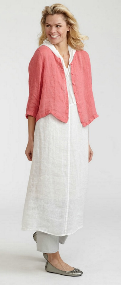 Gidget's flax apparel, linen clothing and all cotton clothing: 3/4 Cardi, Sunshine Flax 2012, sun12-34Cardi - via http://bit.ly/epinner