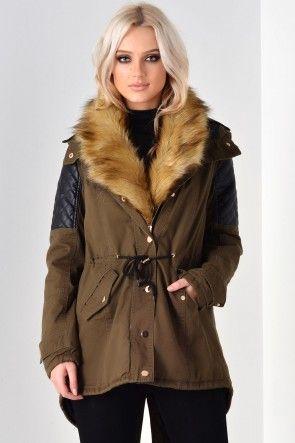 Bella Fur Hood Jacket in Khaki