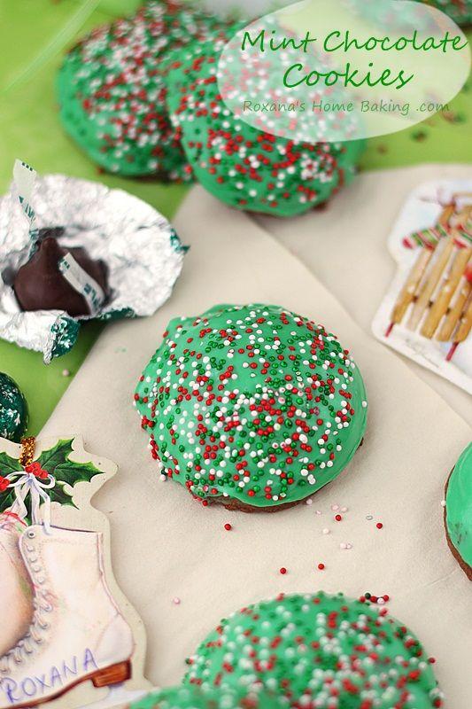 Mint chocolate kisses muffin top cookies recipe from roxanashomebaking.com